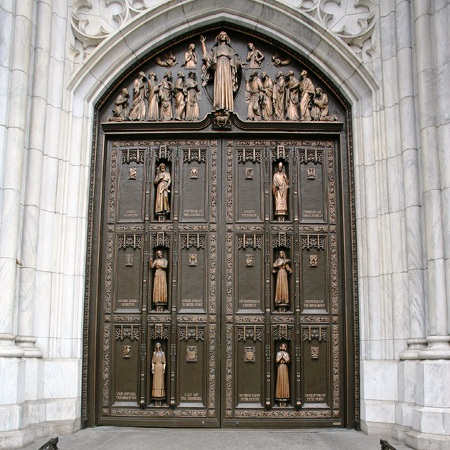 The bronze doors of St. Patrick\u0027s Cathedral. In the main door are six figures (including St. Patrick) each playing a significant role in local church ... & bronze doors | Shrine Tower Pezcame.Com