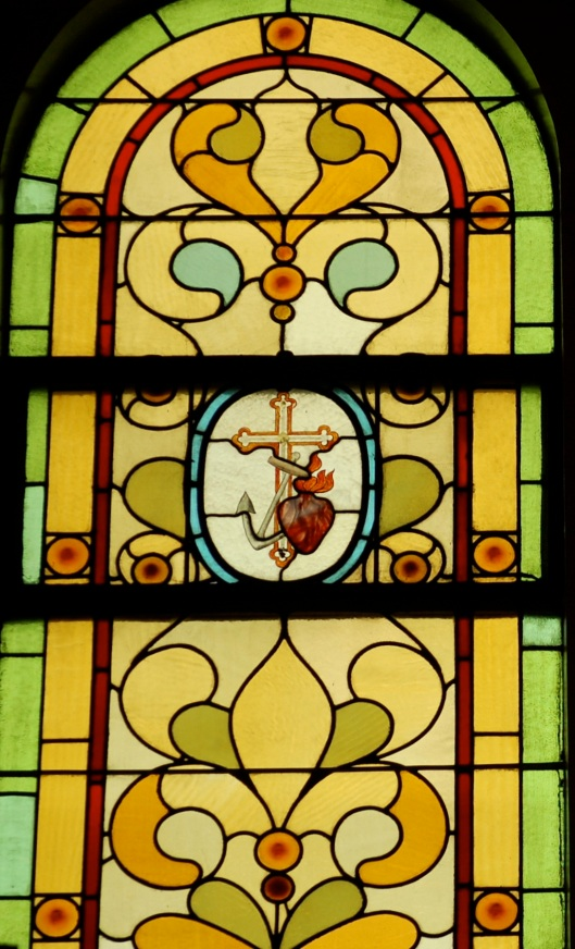 heart with old stained glass window