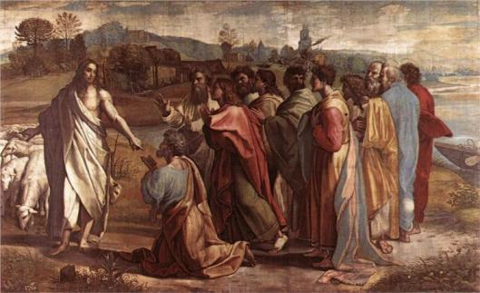 Christ's Charge to St. Peter feed m lambs (from the Sistine Chapel) - Raphael