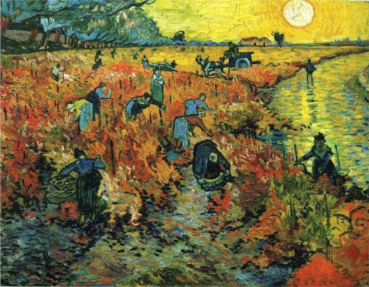 laboreres in the vineyard red-vineyards-at-arles-1888 vincent van gogh