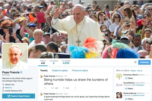 pope francis twitter acct page