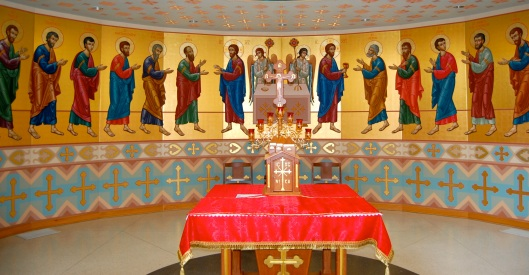 altar surrounded by apostles