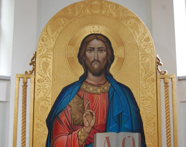 "The Pantocrator, ""Ruler of All"", Christ blessing his people with New Testament in left hand"